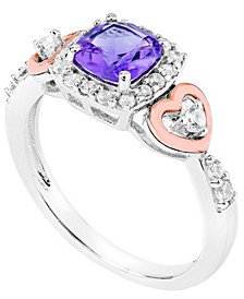 Amethyst (1 ct.t.w) 14K Rose Gold Plated Heart Ring in Sterling Silver