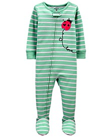 Toddler Girls Ladybug Snug Fit Footie Pajama Set