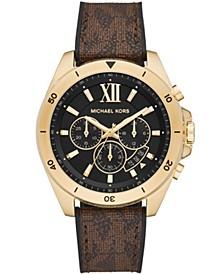 Men's Brecken Chronograph Brown Signature Logo Strap Watch 45mm