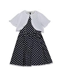 Big Girls Print Poplin Dress with Knit Cardigan, Set of 2