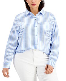 Cotton Poplin Striped Shirt, Created for Macy's