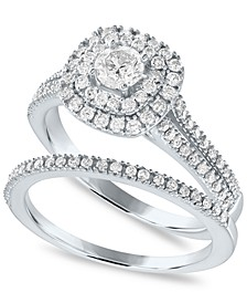 Diamond Double Halo Bridal Ring Set (7/8 ct. t.w.) in 14K White Gold