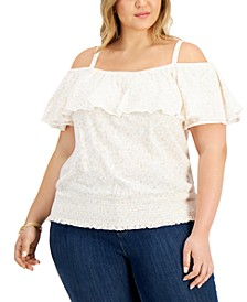 INC Plus Size Cotton Smocked Cold-Shoulder Top, Created for Macy's