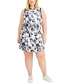 Plus Size Tie-Dyed Hoodie Dress, Created for Macy's