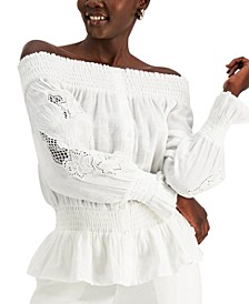 INC Linen Off-The-Shoulder Eyelet Top, Created for Macy's