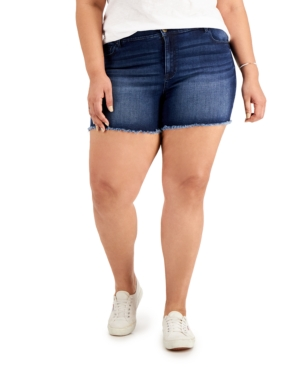 Trendy Plus Size Frayed-Hem Denim Shorts