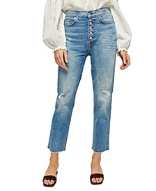 Ripped Cropped Straight Jeans