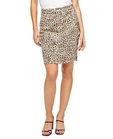 Leopard-Print Denim Pencil Skirt