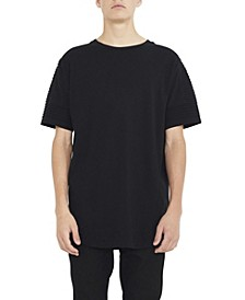 Men's Crew Neck T-shirt with Pin Tuck Sleeve Detail