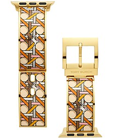Women's Multicolor Basket Weave Print Gold-Tone Stainless Steel Bracelet For Apple Watch® Leather Strap 38mm/40mm