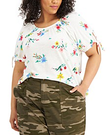 Plus Size Floral-Print On/Off-The-Shoulder Top, Created for Macy's
