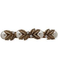 Gold-Tone Pavé & Imitation Pearl Leaf Hair Barrette