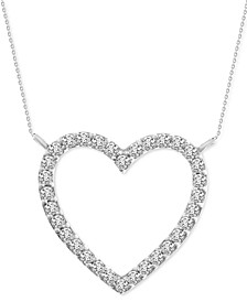 "Diamond Heart 18"" Pendant Necklace (1/10 ct. t.w.) in 10k White Gold"