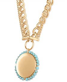 """Gold-Tone Turquoise Bead Round Pendant Necklace, 30"""" + 2"""" extender"""