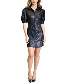 Faux-Leather Puff-Sleeve Fit & Flare Dress