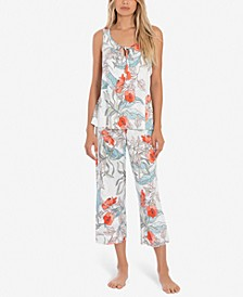 Tropical-Print Tank Top & Cropped Pajama Pants Set