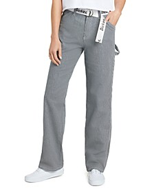 Juniors' Railroad Stripe Carpenter Pants