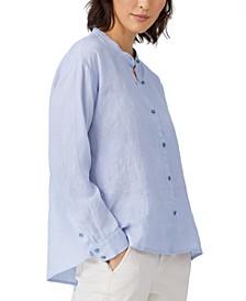 Organic Linen Mandarin-Collar Shirt