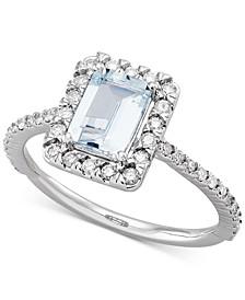 Aquamarine (7/8 ct. t.w.) & Diamond (1/3 ct. t.w.) Ring in 14k White Gold