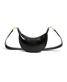 Vegan Leather Crocodile Crescent Shoulder Bag