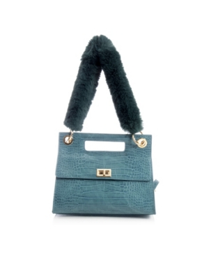 Vegan Leather Crossbody With Faux Fur Top Handle