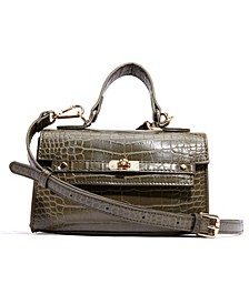 Vegan Leather Croc Top Handle Mini Satchel
