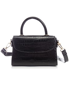 Croc-embossed Vegan Leather Top Handle Mini Satchel