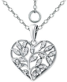 "Cubic Zirconia Heart 16"" Pendant Necklace, Created for Macy's"