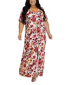 Women's Plus Size Split Front Peasant Maxi Dress