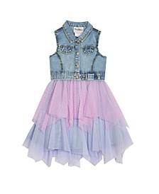 Little Girls Denim Dress with Mesh Skirt