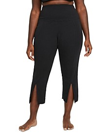 Plus Size Women's Ribbed Split-Hem 7/8 Pants