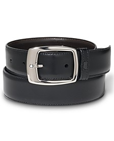 Palladium-Coated Pin Buckle Reversible Leather Belt 9695