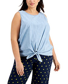 Plus Size Cotton Chambray Tie-Hem Top, Created for Macy's