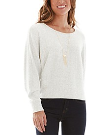 Juniors' Brushed Sweater with Necklace
