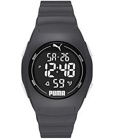 Men's Digital 4 Gray Polyurethane Strap Watch 48mm