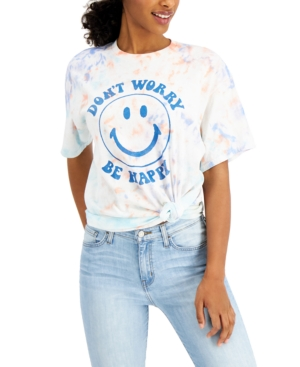 Women's Cotton Be Happy-Graphic Tie-Dyed T-Shirt