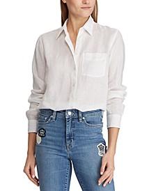 Petite Menswear-Inspired Linen Top