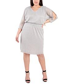 Plus Size Metallic Smocked-Waist Dress