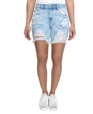 Juniors' Ripped Denim Bermuda Shorts