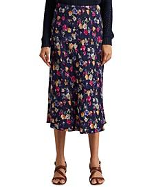 Petite Floral Jacquard Midi Skirt