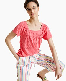 Square-Neck Eyelet Top, Created for Macy's