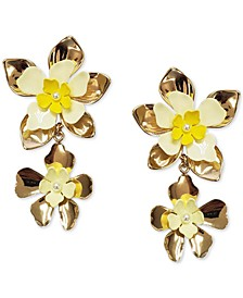 INC Gold-Tone Flower Imitation Pearl Double Drop Earrings, Created for Macy's