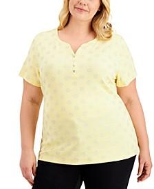 Plus Size Glitter Sun-Print Henley T-Shirt, Created for Macy's