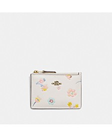 Mini Skinny Leather Id Case With Watercolor Floral Print