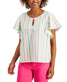 Rainbow Stripe Flutter-Sleeve Top, Created for Macy's