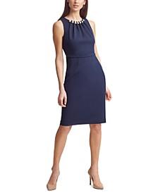 Petite Imitation-Pearl Scuba-Crepe Sheath Dress