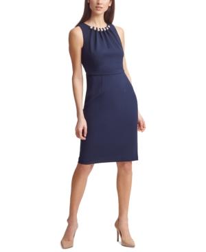 Faux-Pearl-Neck Sheath Dress