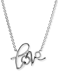 """Love Cable Pendant Necklace in Sterling Silver & Stainless Steel, 15-3/4 + 2"""" extender"""