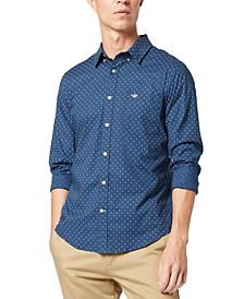 Men's Alpha Icons Slim-Fit Stretch Printed Shirt