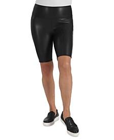 Faux-Leather Bike Shorts